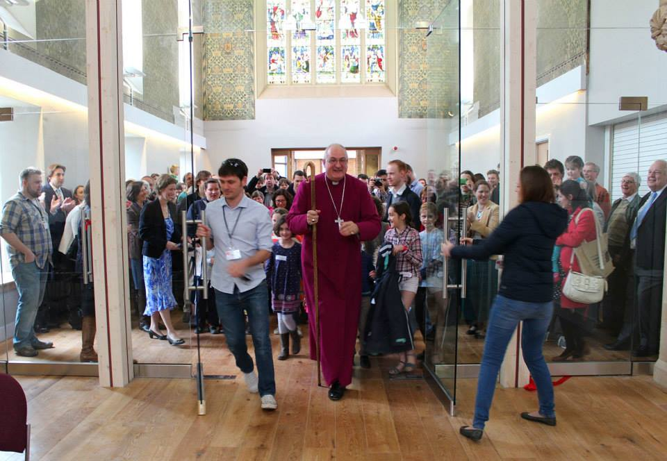 Bishop Stephen and the congregation of St Barnabas Church Cambridge