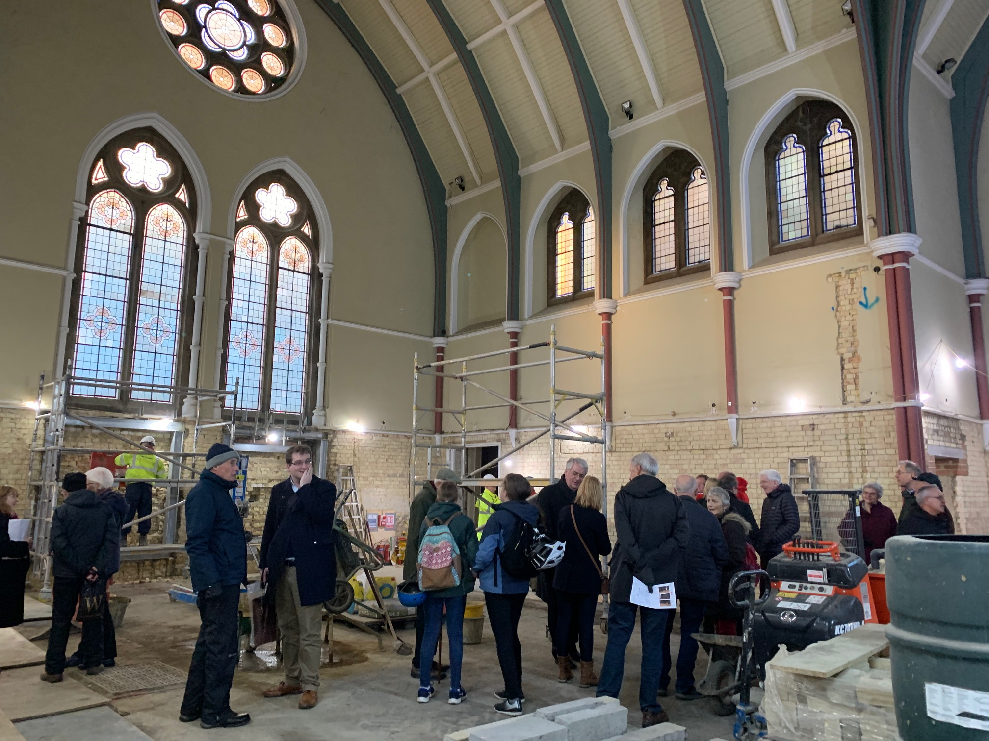Congregation tour of Downing Place URC Cambridge under construction