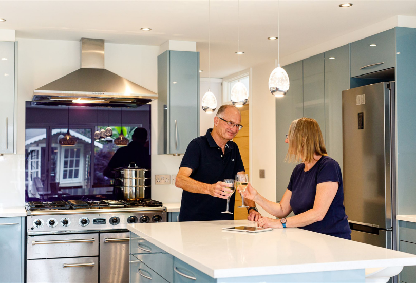 Owners in the kitchen at Woolbrook House Histon