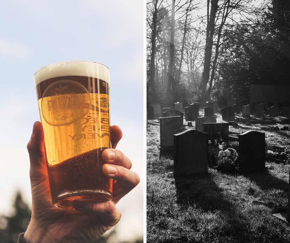 Beer in a graveyard